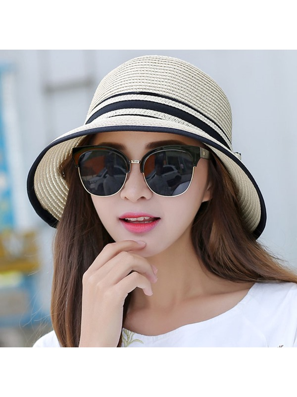 Stripe Design Bowknot Foldable Summer Straw Hat