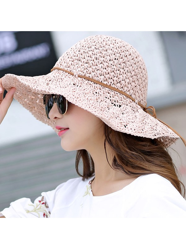 Foldable Straw Plaited Article Pure Color Hollow Sun Hat