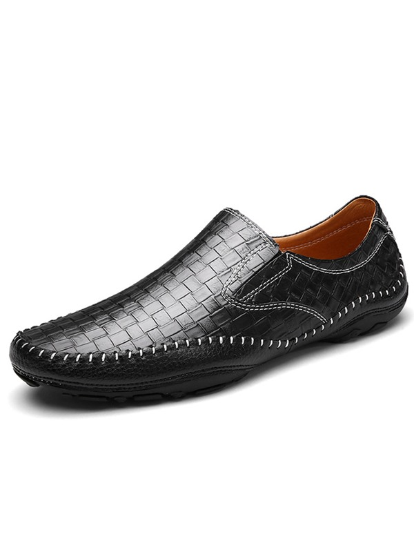 Embossed Leather Plain Slip-On Casual Shoes for Men