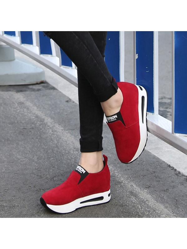 Nubuck Leather Slip-On Plain Women's Sneakers
