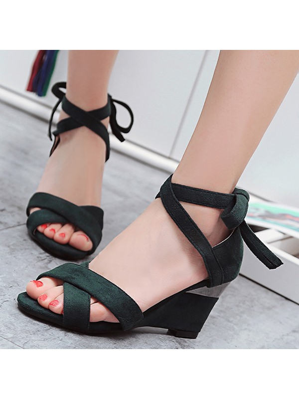 Suede Lace-Up Heel Covering Peep Toe Women's Sandals