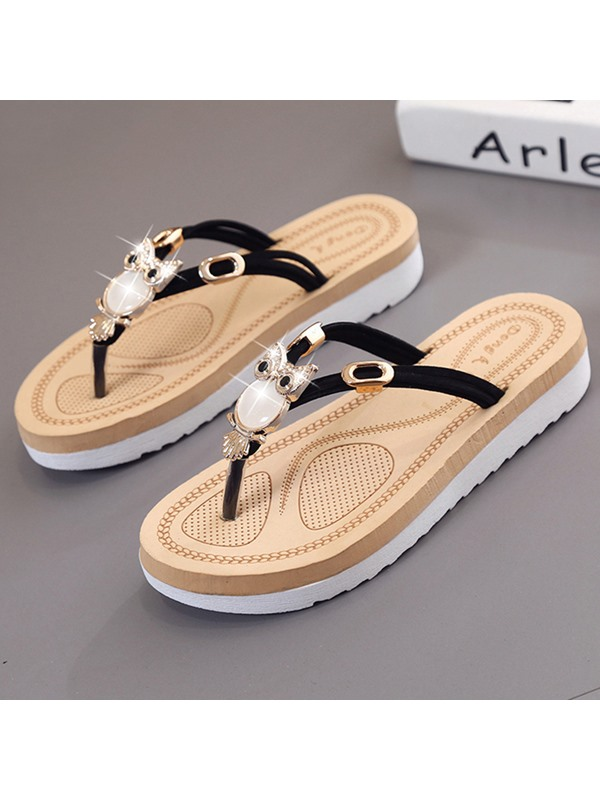 PU Multi Color Slip-On Thong Women's Sandals