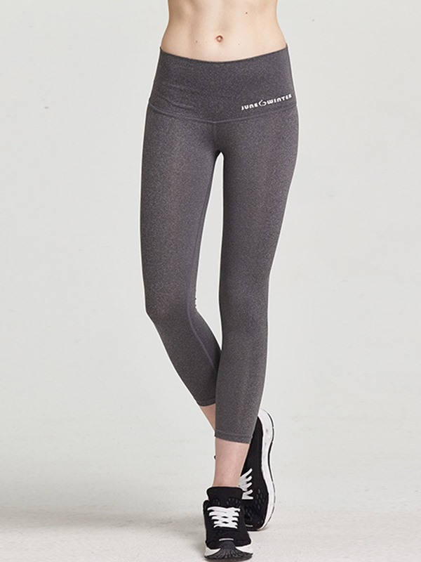 Lycra Fast Drying Pure Color Breathable Skinny Fit Women Yoga Cropped Leggings