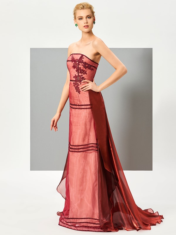 Attractive A-Line Appliques Zipper-Up Watteau Train Evening Dress