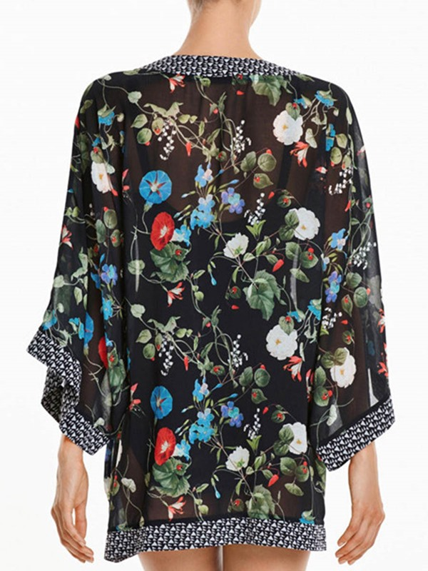 Beautiful Flower Print Cover-Up