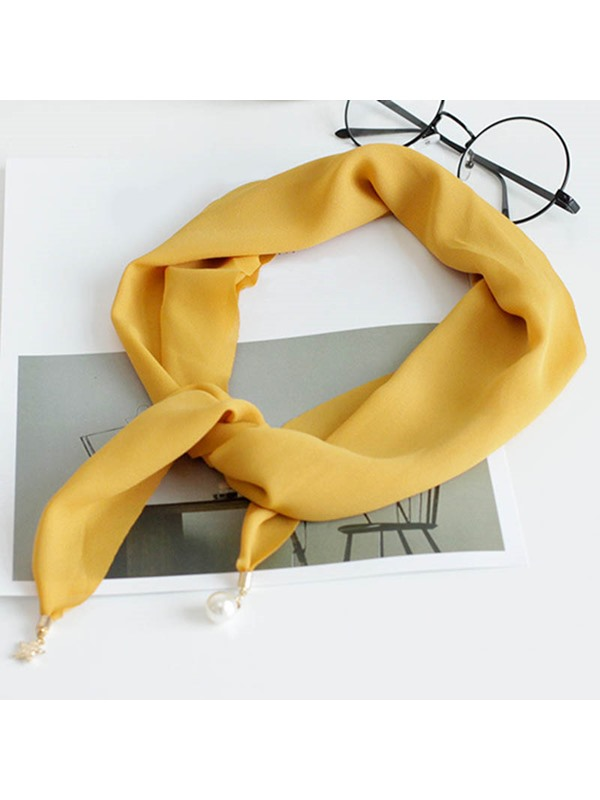 Metal Ornament Chiffon Bevel Angle Design Scarf