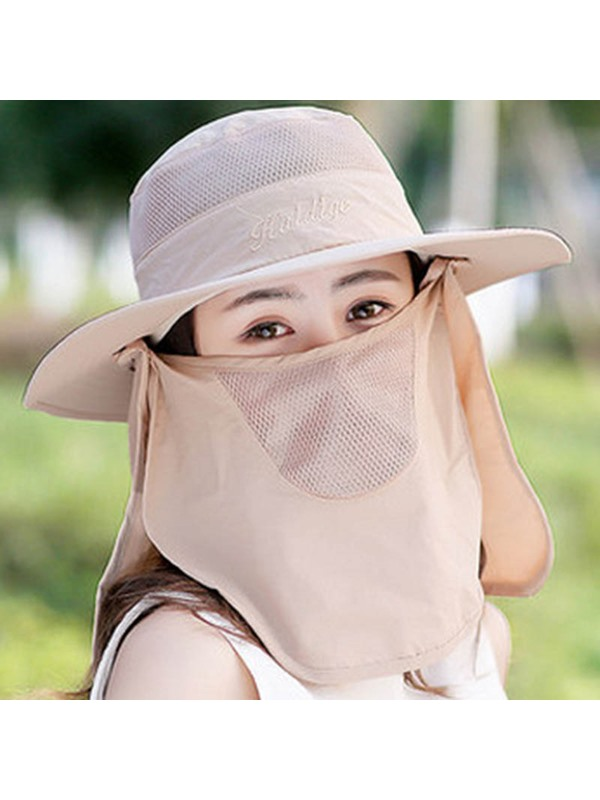 Outdoor Solid Color Face Covering Design Cotton Sun Hat
