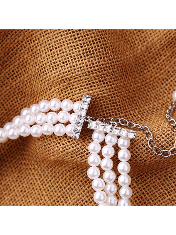 Three Layers Short Artificial Pearls Necklaces