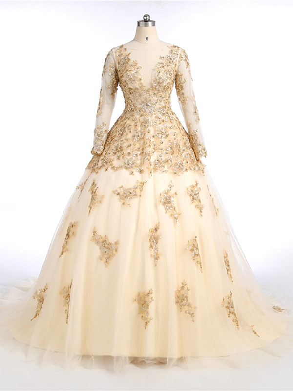 Gorgeous A-Line Scoop Long Sleeves Appliques Beading Sequins Court Train Evening Dress