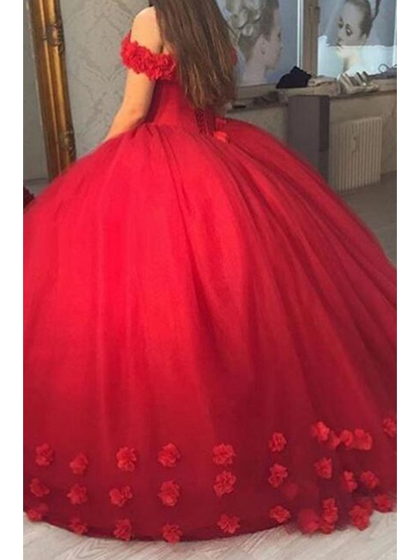 Stylish Off-the-Shoulder Ball Gown Flowers Floor-Length Quinceanera Dress