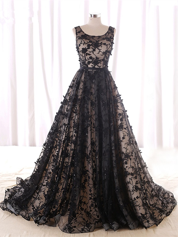 A-Line Strapless Beading Lace Evening Dress
