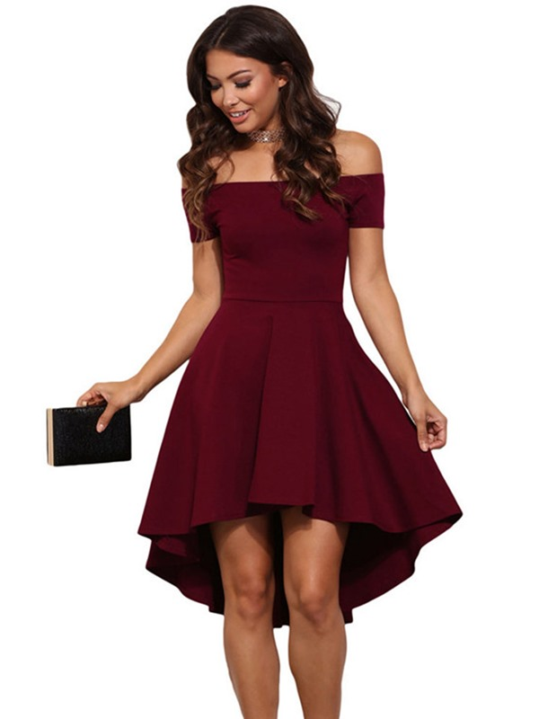 Tidebuy Slash Neck High-Low Plain Women's Day Dress