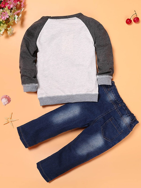 Stylish Color Block T-Shirt & Worn Jean Boy's 2-Piece Outfit