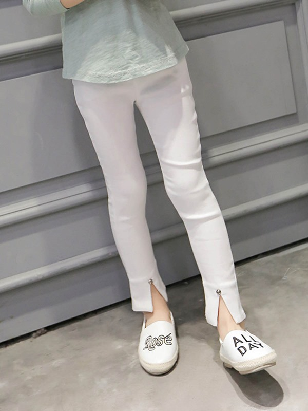 Solid Color Slit-Front Girl's Pant