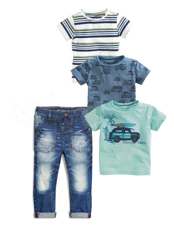 Simple Frayed Destroy Boy's 4-Piece Outfit