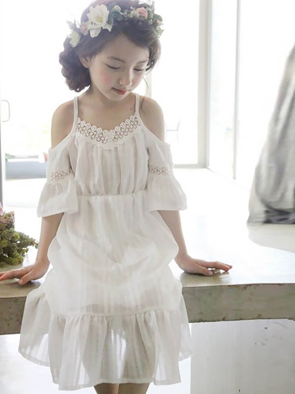 Candy Color Ruffles Off-Shoulder Girl's Dress