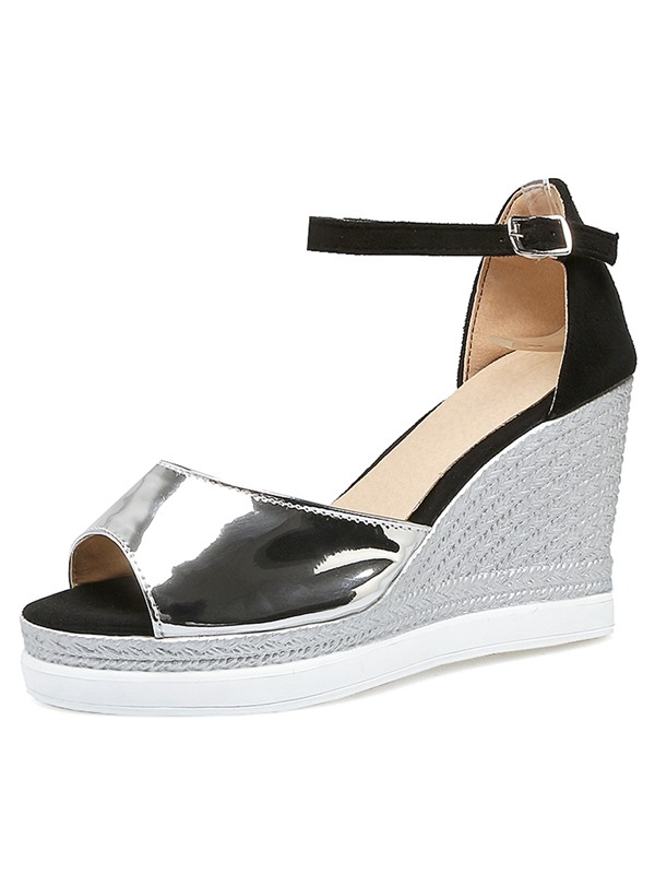 PU Line-Style Buckle Glittering Women's Wedge Sandals