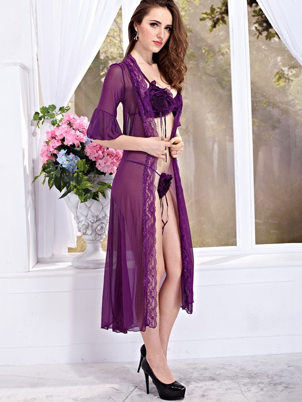 Purple Flare Sleeve Pleated Babydoll