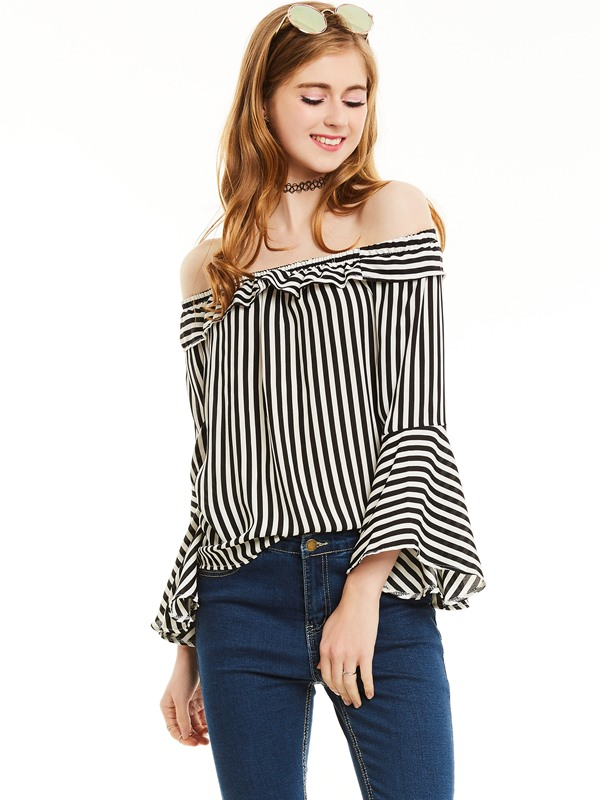 Slash Neck Stripe Flare Sleeves Blouse