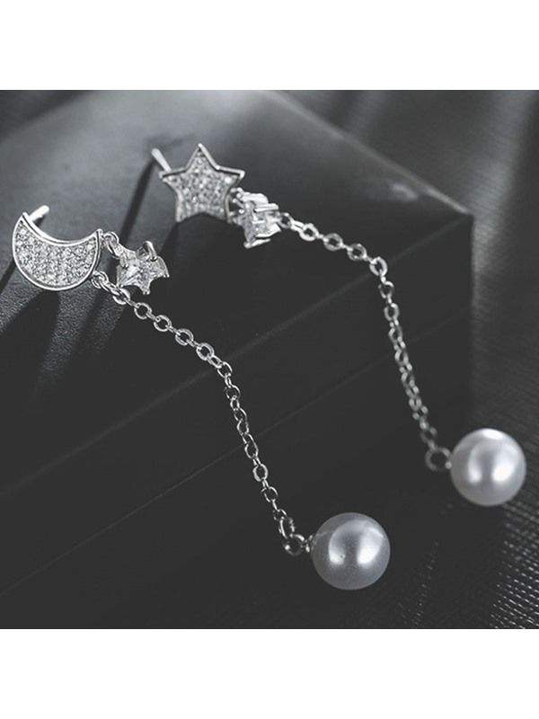 Star & Moon Design Bead Long Linear Earrings