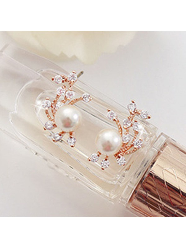 Pearl Inlaid Rhinestone Leaf Earrings