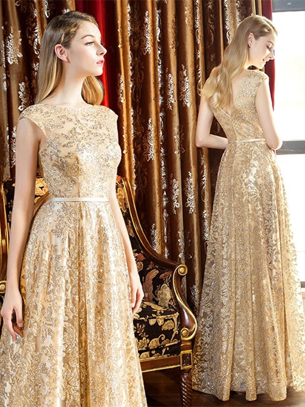 Gorgeous A-Line Cap Sleeves Sashes Scoop Sequins Floor-Length Evening Dress