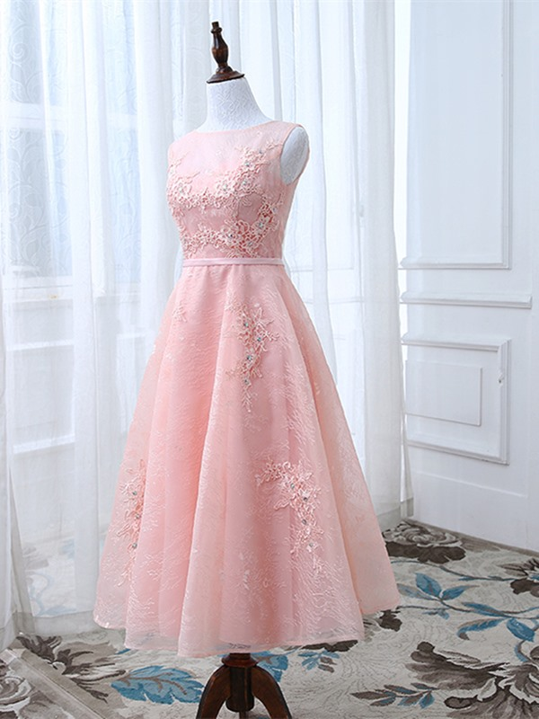 Stylish A-Line Appliques Scoop Crystal Sashes Tea-Length Prom Dress