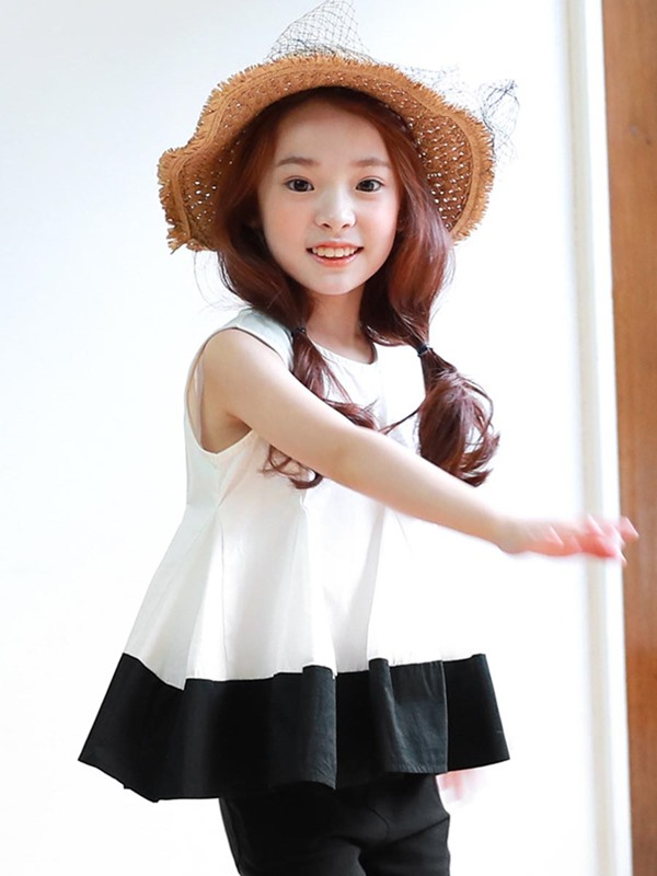 Color Block Pleated Frill Girls T-Shirt