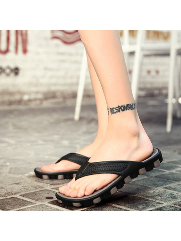 PU Color Block Slip-On Thong Men's Sandals
