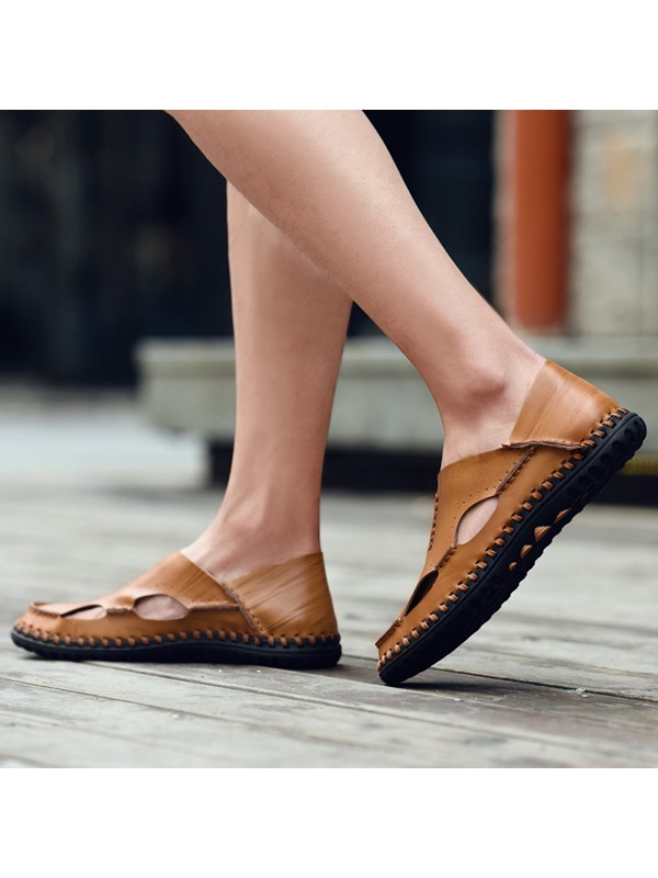 PU Slip-On Hollow Round Toe Men's Sandals