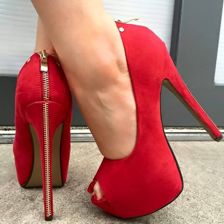 Suede Slip-On Ultra-High Heel Women's Red Pumps