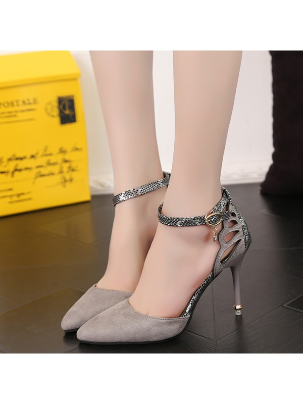 Suede Hollow Thread Line-Style Buckle Women's Pumps