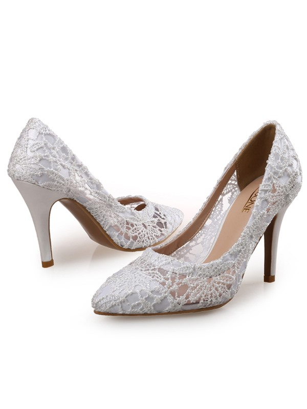 Lace Stiletto Heel Pointed Toe Women's Pumps