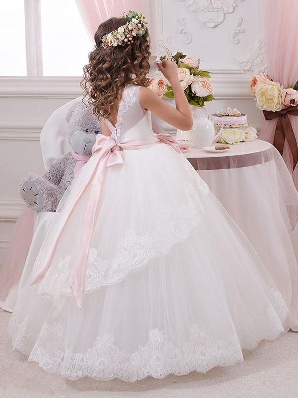 Fair Tiered Appliques Sashes First Communion Dress