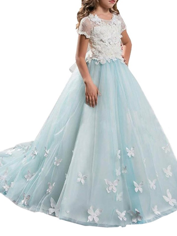 Fancy Scoop Neck Short Sleeves Appliques Flower Girl Dress