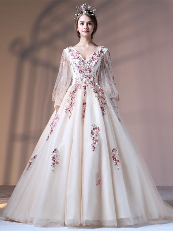 Attractive Ball Gown Lace-Up V-Neck Appliques Court Train Quinceanera Dress