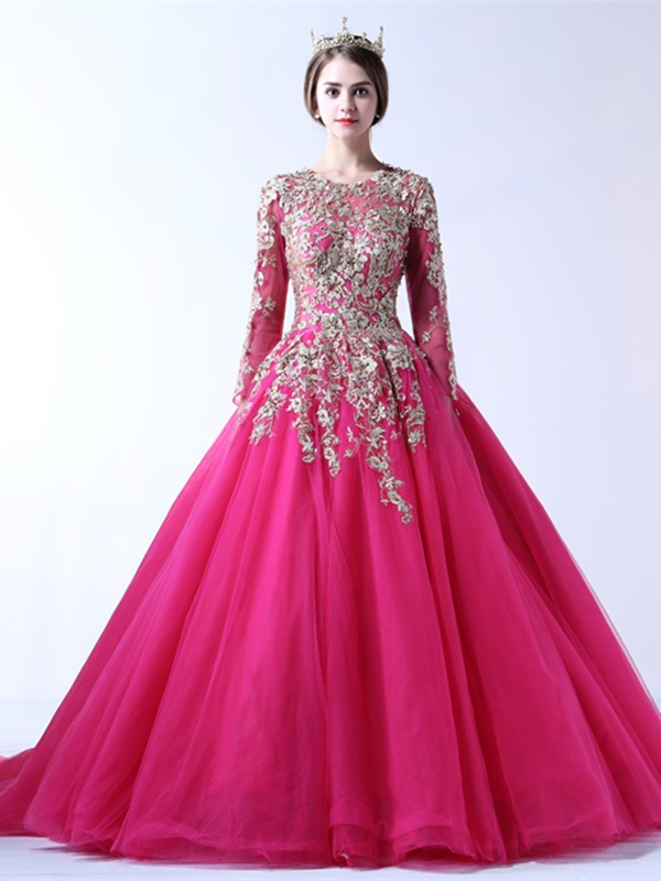 Appliques Jewel Court Train Long Sleeves Quinceanera Dress