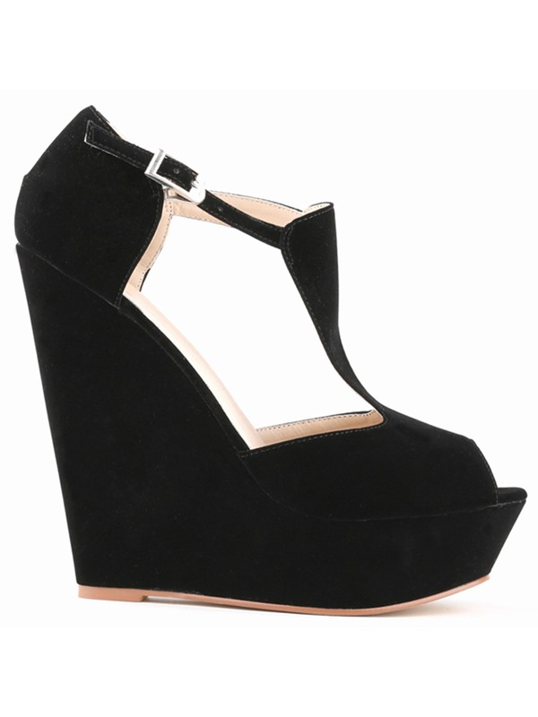 Suede Buckle Hollow Platform Women's Wedge Sandals
