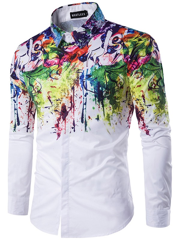 Single-Breasted Splashed Paint Men's Shirt