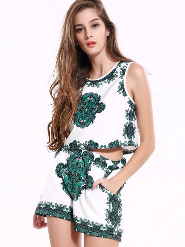 Vintage Sleeveless Print Wide Legs 2-Piece Sets