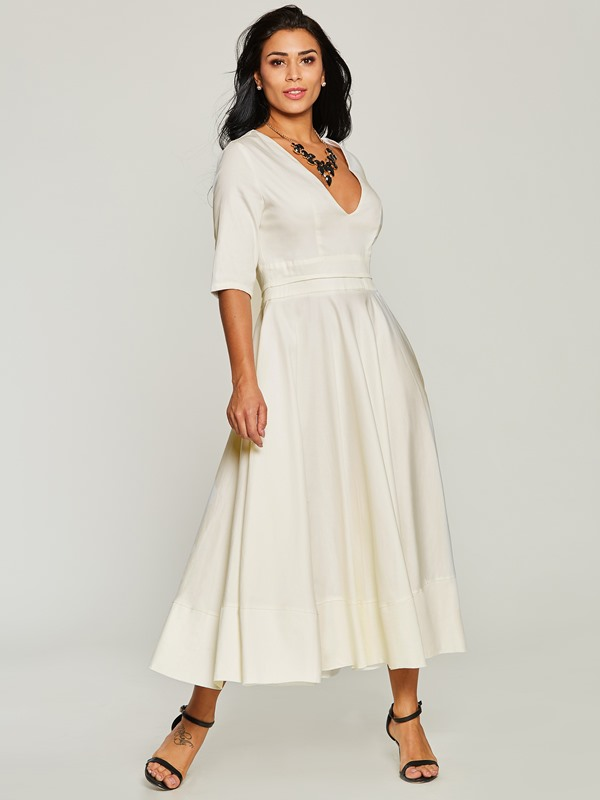 Tidebuy White V Neck Half Sleeve Women's Maxi Dress