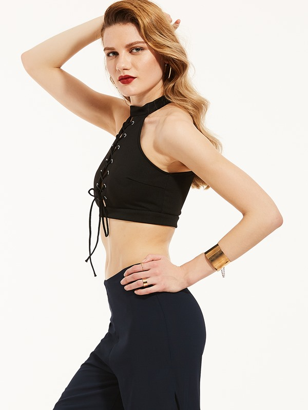 Tie Front Halter Lace-Up Tank Top