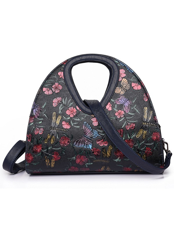 Folk Crescent Shaped Flower Butterfly Printing Satchel