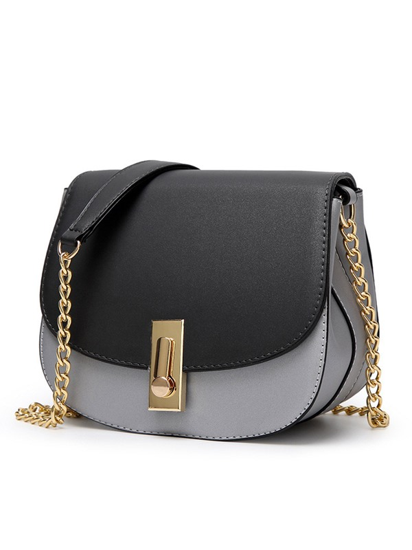 Elegant Color Splicing Spin Lock Crossbody Bag