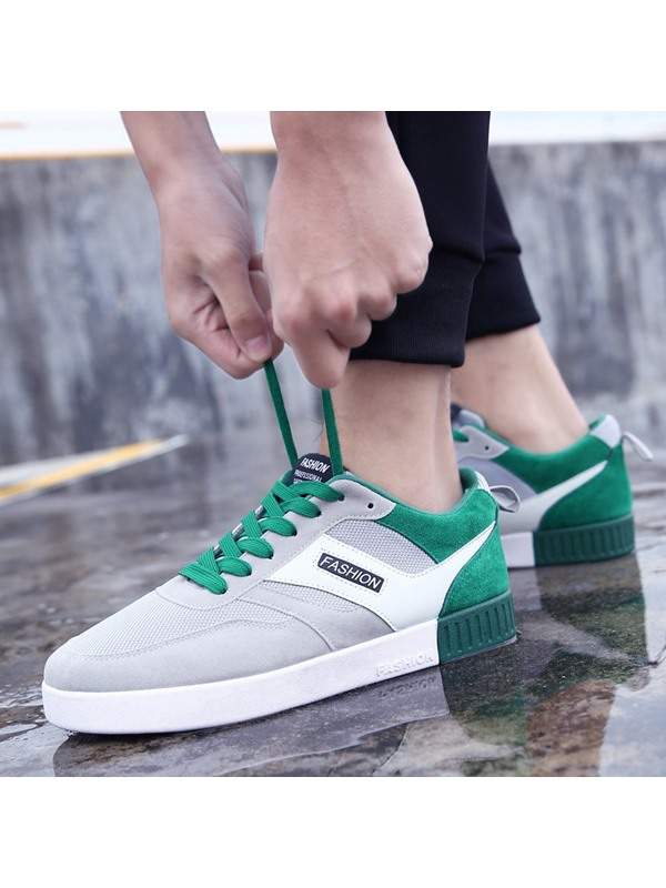 Mesh Lace-Up Round Toe Patchwork Men's Discount Shoes