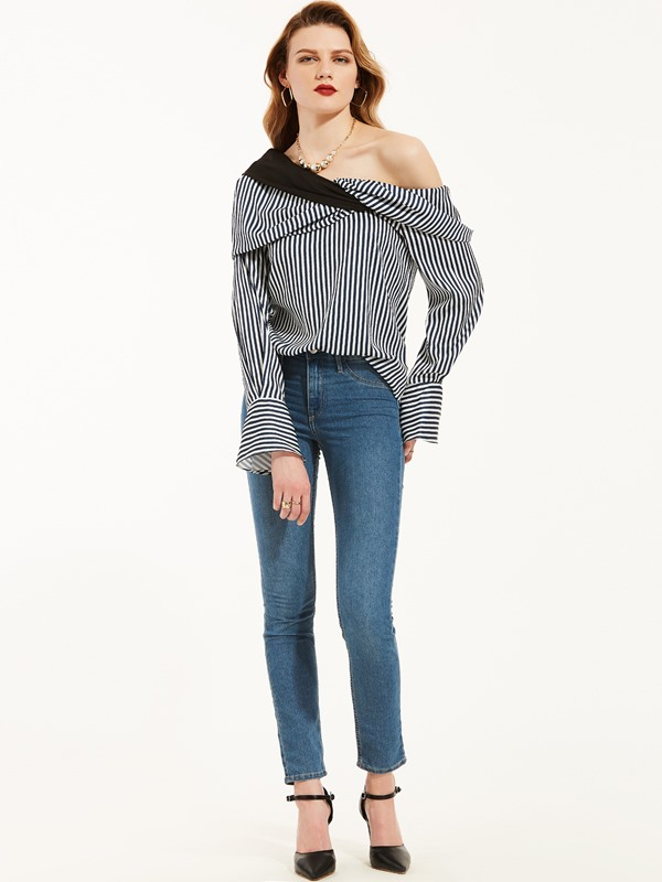 Stripe Oblique Collar Flare Sleeve Blouse