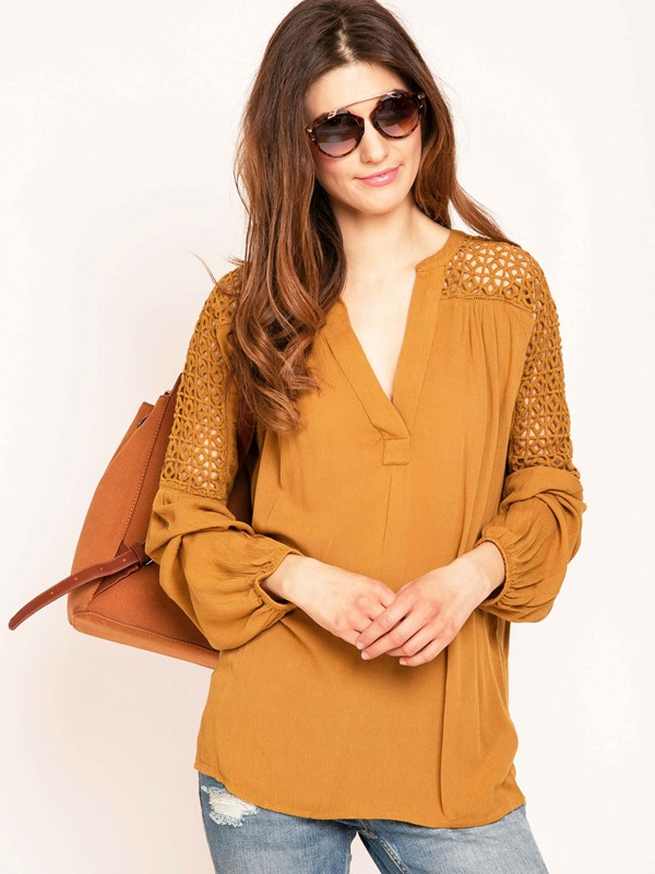 Plain Hollow V-Neck Lantern Sleeve Blouse
