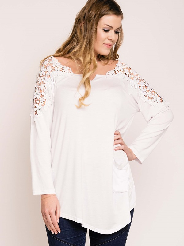 Lace Hollow Plus Size T-Shirt