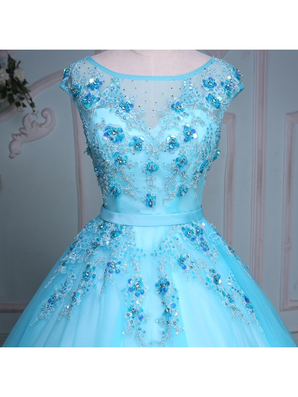 Pretty Bateau Ball Gown Cap Sleeves Appliques Beading Crystal Sequins Court Train Quinceanera Dress