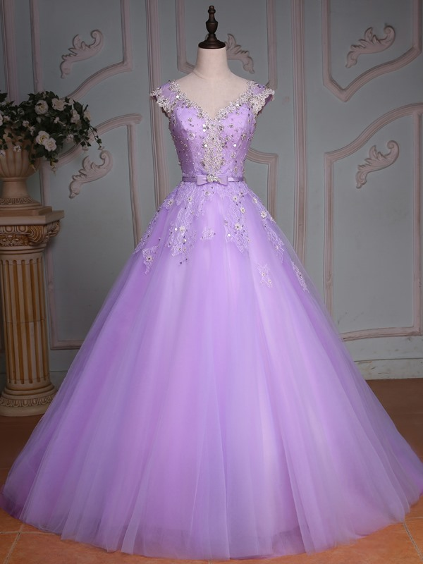 V-Neck Ball Gown Beading Lace Sequins Quinceanera Dress